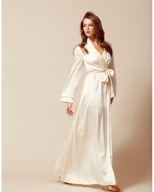 Agent Provocateur Classic Long Dressing Gown Ivory In White Lyst