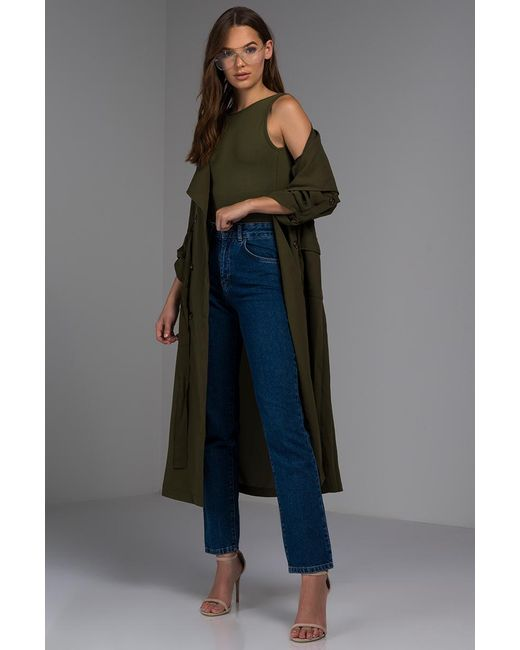 Akira - Green Where Your Love Lies Trench Coat - Lyst