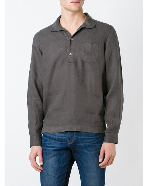 Fay Washed Long Sleeve Polo Shirt In Brown For Men Save