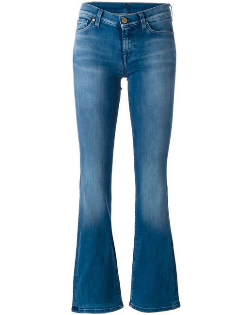 7 For All Mankind   Black Distressed Bootcut Jean   Lyst