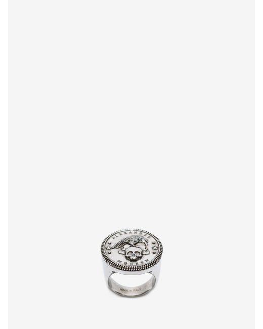 Alexander McQueen - Metallic Crow & Skull Medallion Ring for Men - Lyst