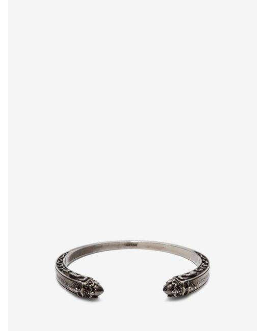 Alexander McQueen | Metallic Twin Skull Engraved Bracelet | Lyst