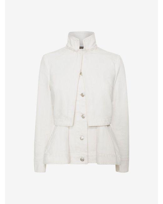 Alexander McQueen   White Denim Peplum Jacket   Lyst