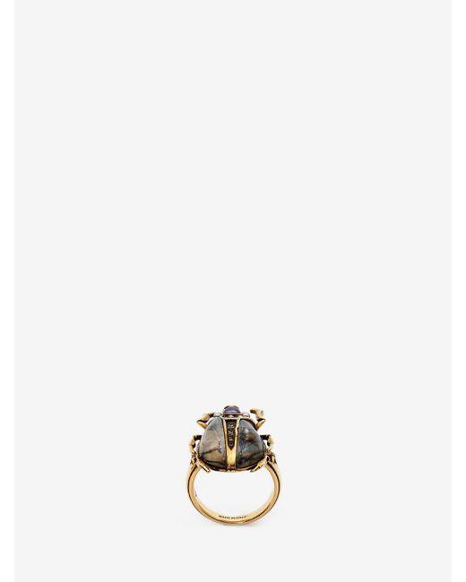 Alexander McQueen - Metallic Beetle Ring - Lyst