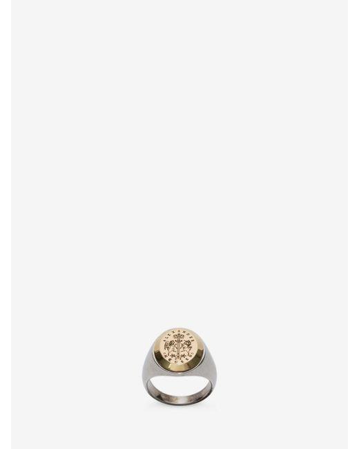Alexander McQueen | Metallic Signet Ring | Lyst