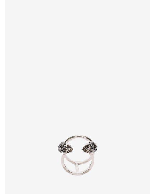 Alexander McQueen | Metallic Twin Skull Double Ring | Lyst