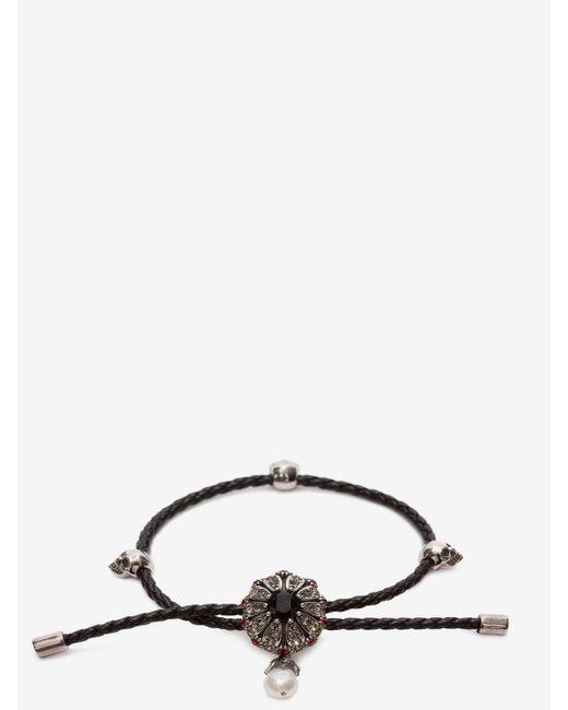 Alexander McQueen - Black Jewel Charm Nappa Bracelet - Lyst