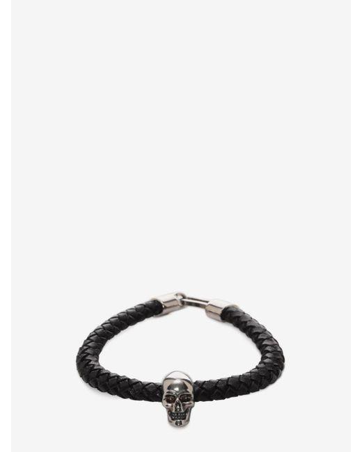 Alexander McQueen - Black Skull Leather Bracelet - Lyst