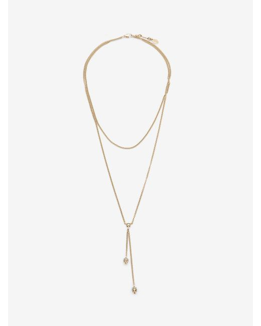 Alexander McQueen | Metallic Double-wrap Chain Skull Necklace | Lyst