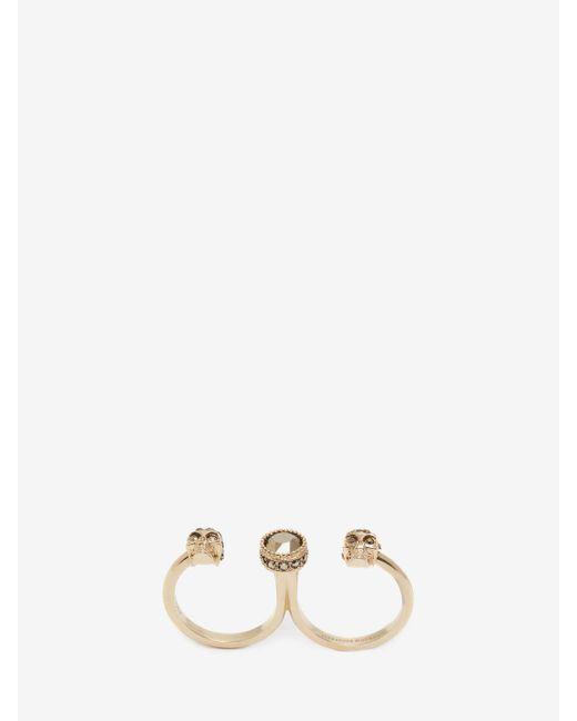 Alexander McQueen - Metallic Double Mini Skull Ring - Lyst