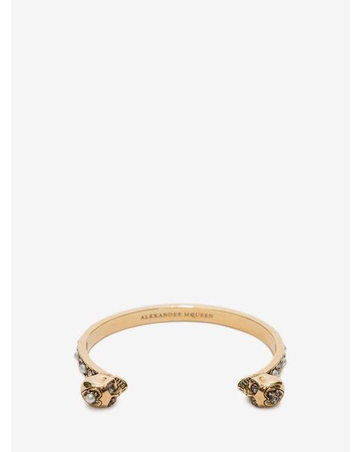 Alexander McQueen - Metallic Thin Twin Skull Bracelet - Lyst
