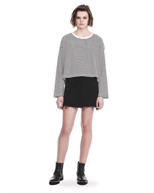 T By Alexander Wang   White Striped Long Sleeve Drop Shoulder Tee   Lyst