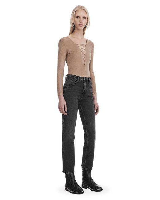 T By Alexander Wang | Natural Stretch Faux Suede Long Sleeve Lace-up Bodysuit | Lyst