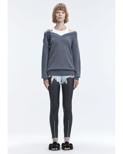 T By Alexander Wang - Gray Bi-layer Knit Sweater - Lyst