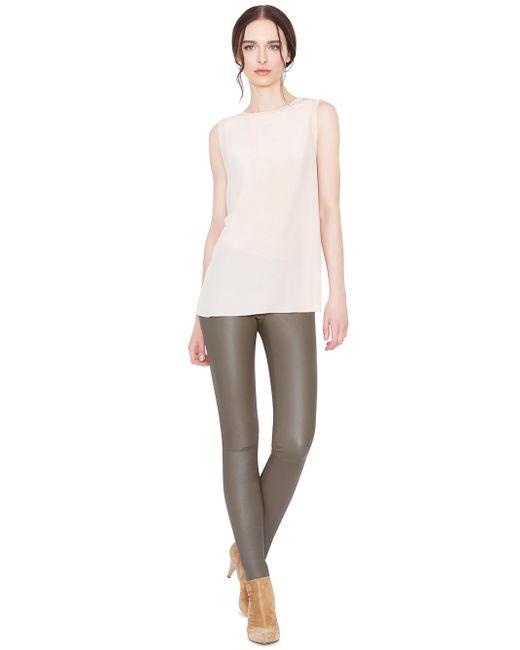 Alice + Olivia   Gray Front Zip Leather Legging   Lyst