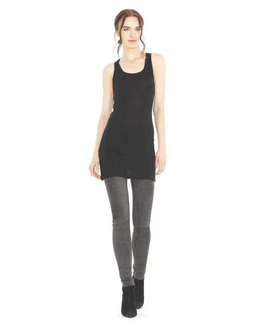 Alice + Olivia | Gray Charcoal Front Zip Suede Legging | Lyst