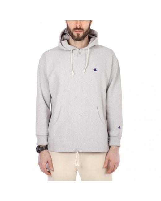 Champion - Gray X Beams Reverse Weave Terry Hooded Sweat for Men - Lyst