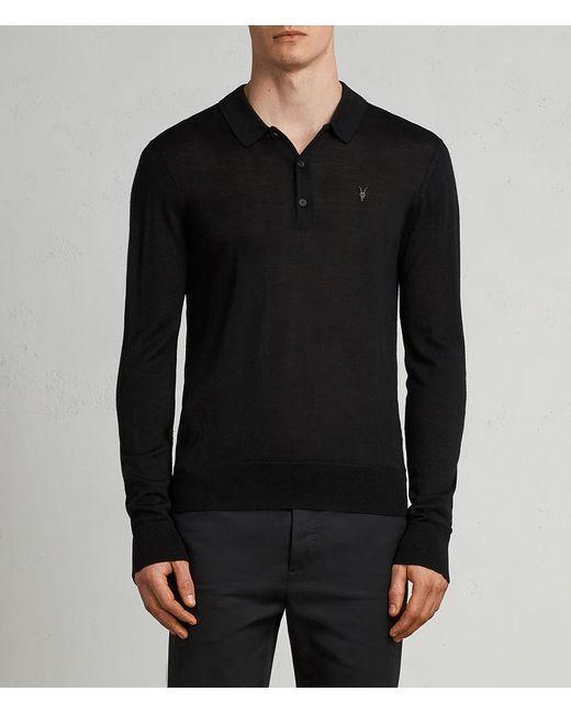 AllSaints - Black Mode Merino Long Sleeved Polo for Men - Lyst