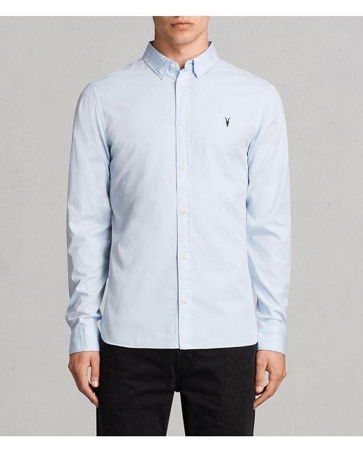 AllSaints - Blue Redondo Long Sleeve Shirt for Men - Lyst