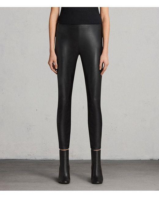 AllSaints - Black Isla Faux Leather Leggings - Lyst