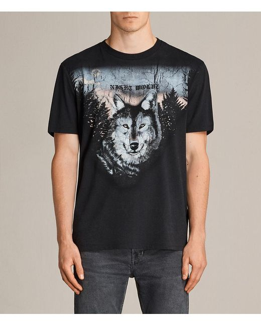 AllSaints - Black Night Wolvs Crew T-shirt for Men - Lyst