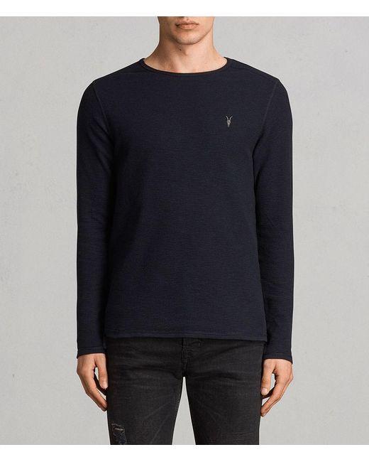 AllSaints - Blue Clash Long Sleeved Crew T-shirt for Men - Lyst