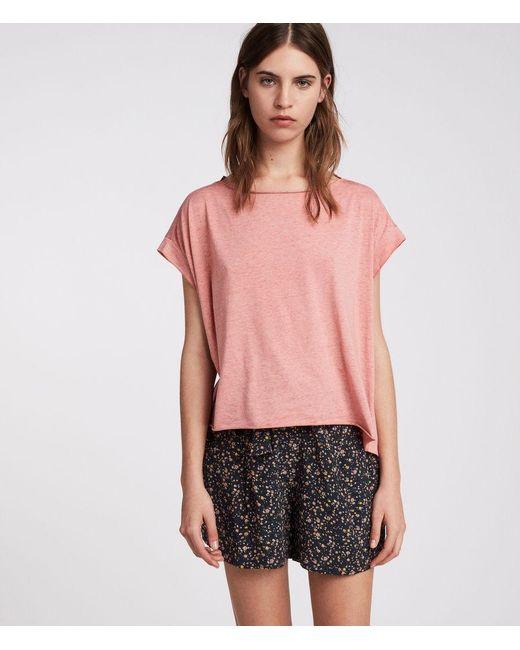 AllSaints - Pink Pina Devo T-shirt - Lyst