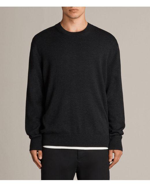 AllSaints | Black Blake Crew Sweater for Men | Lyst