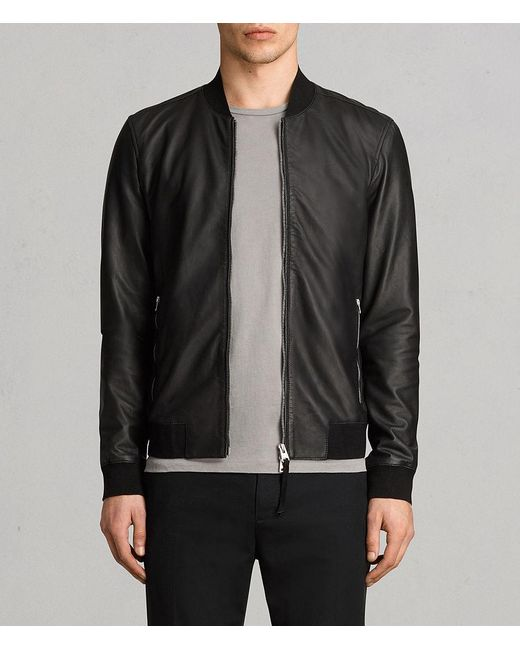 AllSaints - Black Mower Leather Bomber Jacket for Men - Lyst