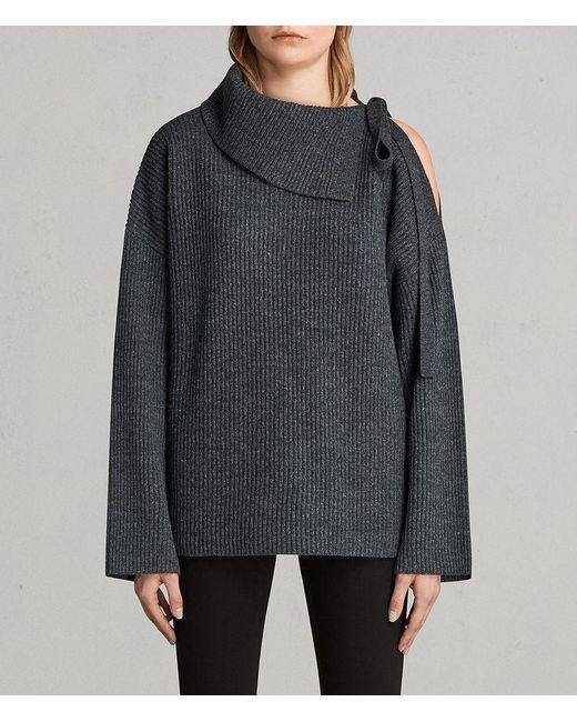 AllSaints - Gray Sura Tie Neck Sweater - Lyst