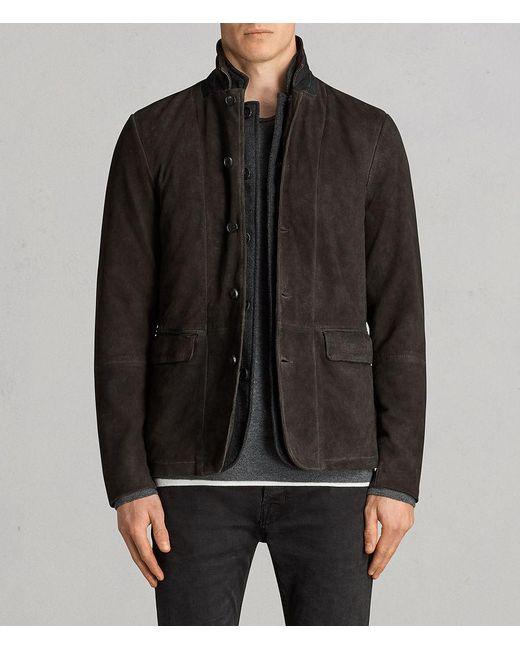 AllSaints - Gray Survey Leather Blazer for Men - Lyst