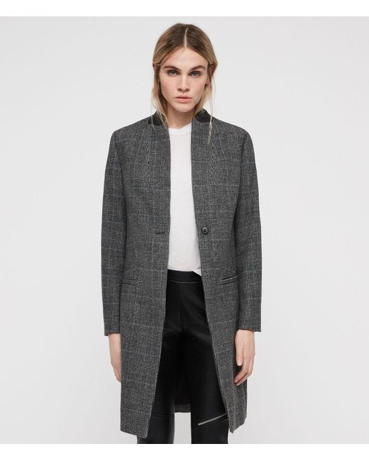 AllSaints - Gray Leni Check Coat - Lyst