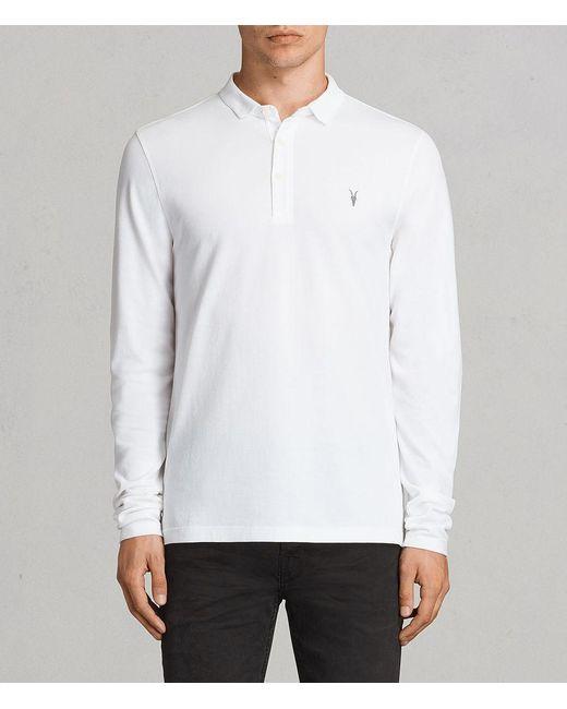 AllSaints - White Reform Long Sleeved Polo Shirt for Men - Lyst
