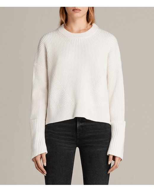 AllSaints - White Pierce Crew - Lyst