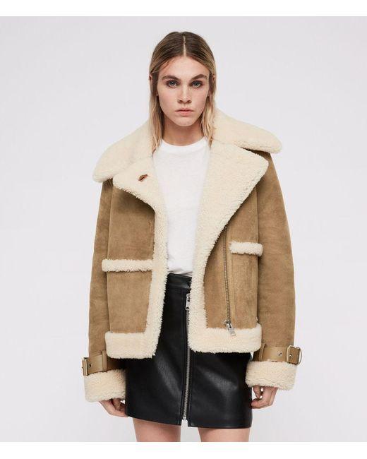 AllSaints - Multicolor Farley Shearling Jacket - Lyst