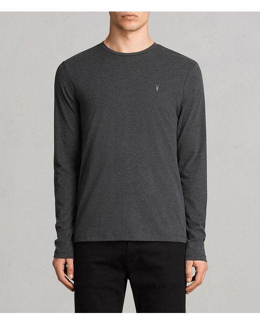 AllSaints - Gray Brace Long Sleeve Tonic Crew T-shirt for Men - Lyst