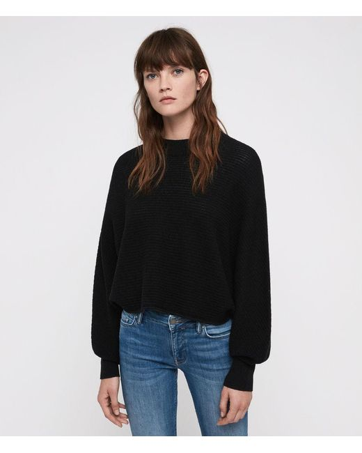 AllSaints - Black Gene Crew Neck Sweater - Lyst