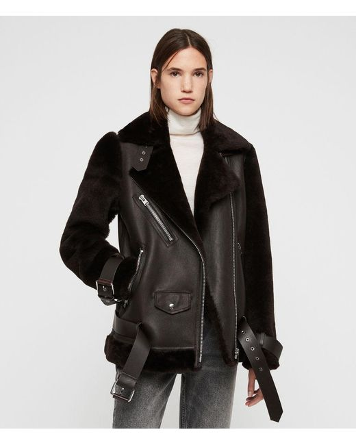 AllSaints - Brown Alto Shearling Jacket - Lyst