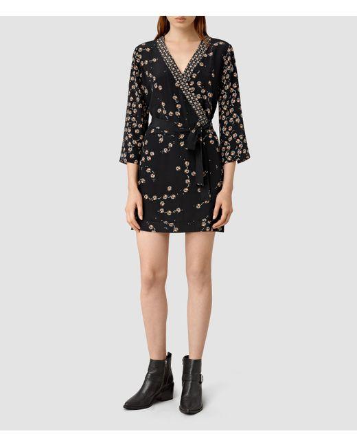 AllSaints | Black Volta Willow Silk Dress | Lyst
