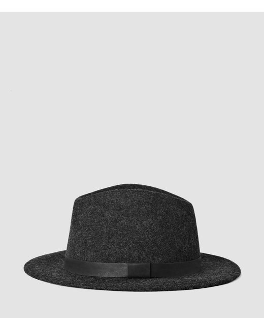 AllSaints | Gray Bronson Leather Fedora Hat for Men | Lyst