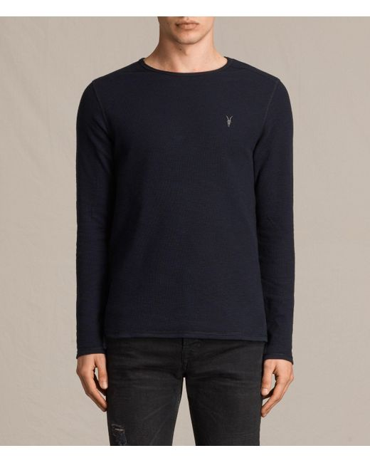 AllSaints | Blue Clash Long Sleeved Crew T-shirt for Men | Lyst