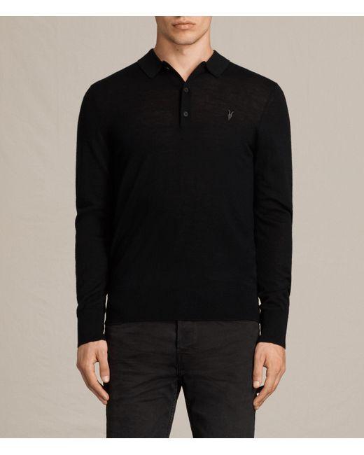 AllSaints | Black Mode Merino Polo Shirt for Men | Lyst