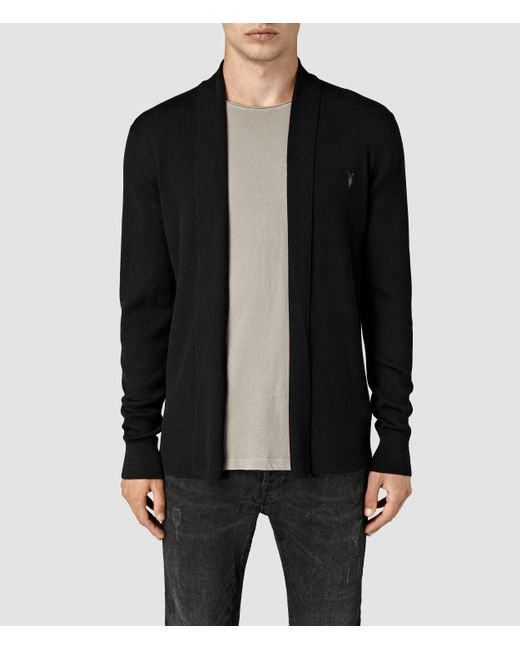 AllSaints | Black Mode Merino Open Cardigan for Men | Lyst