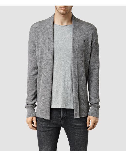 AllSaints | Gray Mode Merino Open Cardigan for Men | Lyst