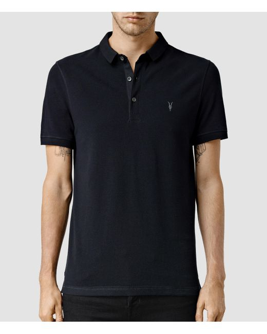 Allsaints reform polo shirt in black for men lyst for All saints polo shirt