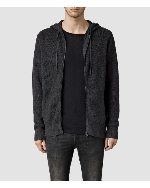 AllSaints | Black Trias Chunky Knit Cotton Hoodie for Men | Lyst
