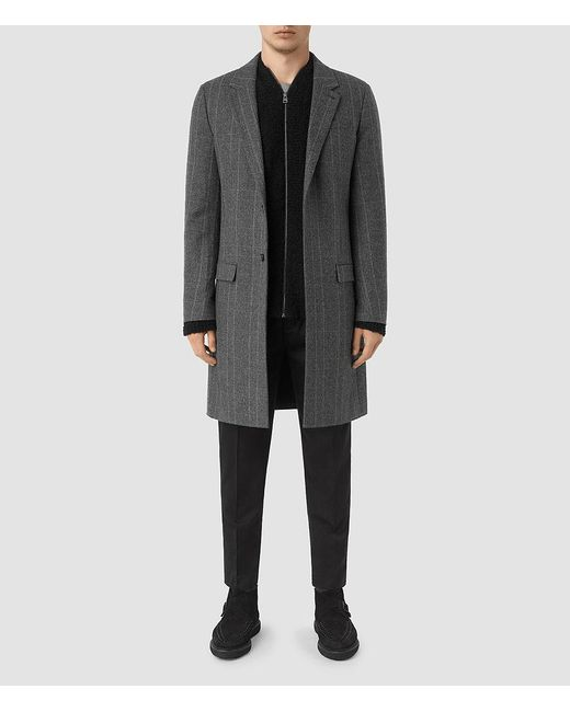 AllSaints - Gray Sligo Coat for Men - Lyst