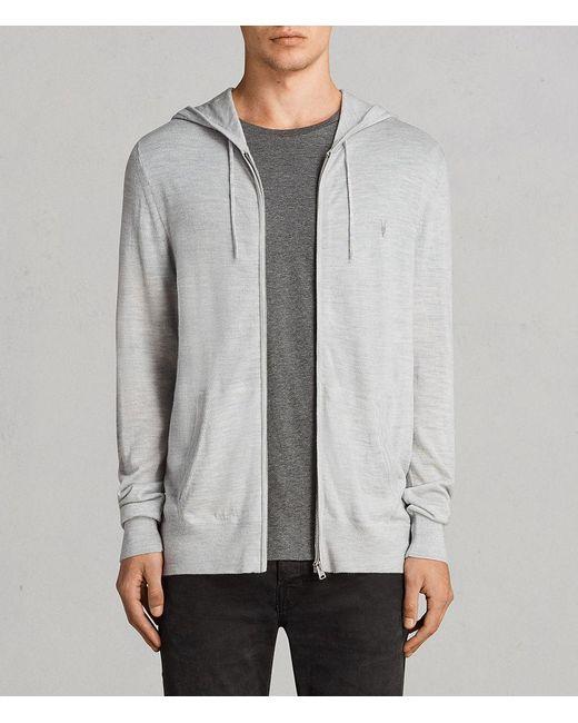 AllSaints - Gray Mode Merino Zip Hoodie for Men - Lyst