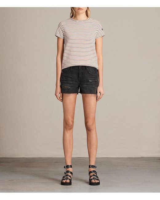 AllSaints - Black Serene Embroidered Denim Shorts - Lyst