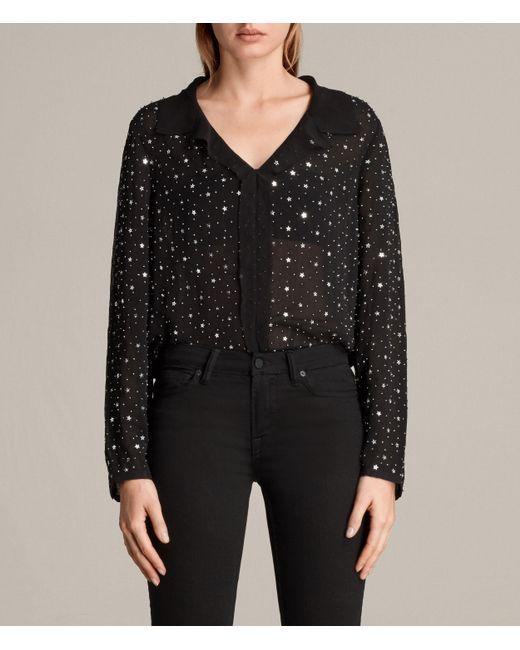 AllSaints   Black Shalien Star Shirt   Lyst